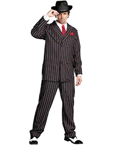 Dreamgirl Men's Gangsta Costume, Black/White, -