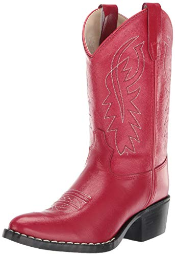 Old West Girls' J Toe Western Boot (Toddler/Little Kid), Red, 13 -