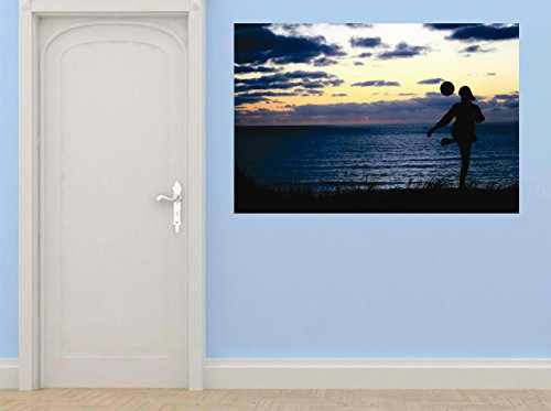 Design with Vinyl Cryst 221 371 As Seen Soccer Sports Sunset Outdoor Scene Vinyl Wall Decal Art Home Decor Bedroom Living Room, 30 by 60-Inch, As Seen by Design with Vinyl