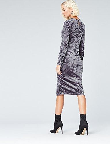 Mujer Falda de FIND para Gris Fruncido Grey con Terciopelo gzZxwAqv