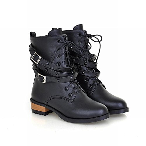 Carol Chaussures Mode Femmes Boucle Casual Lacets Cloutés Bas Chunky Talon Cheville Martin Bottes Noir
