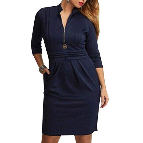 Tobyak Women's Zip Bust Pleated Empire Waist Business Mini Dresses CyanX-Large Fashion style