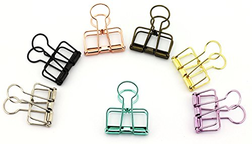 NXG 12 Pack Medium Metal Wire Binder Clips, Office Supplier School Accessories,Colorful Hollow Out Paper Organizer, Multicolor Paper Binder Clip
