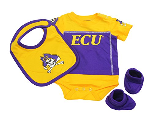 Outerstuff East Carolina Pirates Baby Clothing, University 3 Piece Creeper Bib Booties Apparel Set ()