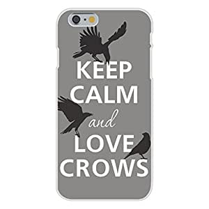 Apple iphone 6 plusd 5.5 Custom Case White Plastic Snap On - Keep Calm and Love Crows w/ Three Bird Silhouette