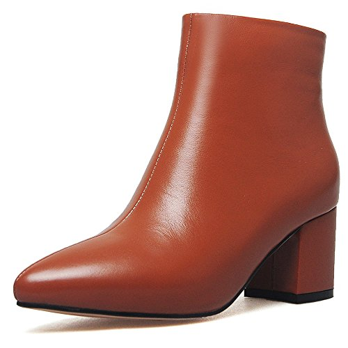 Women's Toe Heel Booties Nine Handmade Chunky Leather Charming Business Brown Genuine Ankle Pointed Seven twxqX0Z