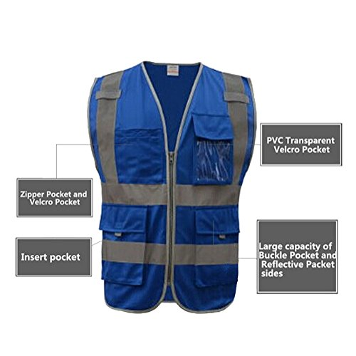 GOGO SECURITY 8 Pockets Hi Vis Safety Vest-Blue-L by GOGO (Image #4)