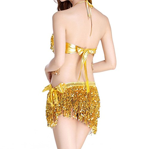 MUNAFIE Women's Belly Dance Costume Bra Top & Hip Scarf with Fringe