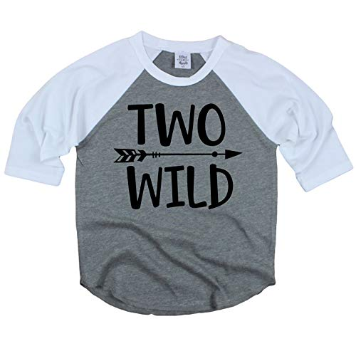Olive Loves Apple Two Wild 2nd Birthday Shirt For Toddler Boys 2nd Birthday Shirt Boy 3/4 Sleeve Gray 3T