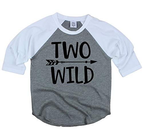 Olive Loves Apple Two Wild 2nd Birthday Shirt For Toddler Boys 2nd Birthday Shirt Boy 3/4 Sleeve,Gray,2T (Sleeve 3/4 Birthday)