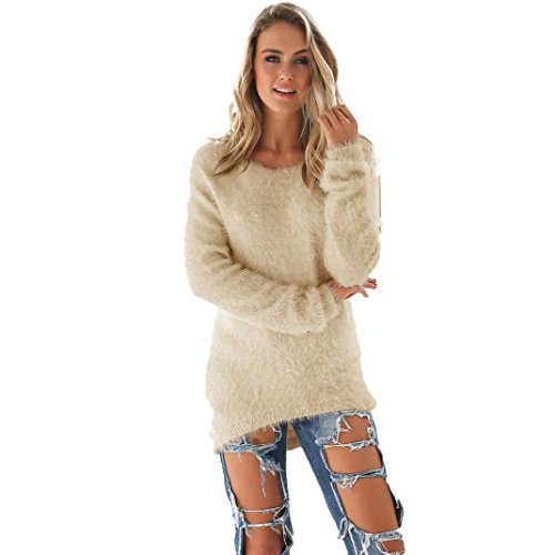 FAPIZI ♥ Women Sweater ♥ Womens Casual Solid Long Sleeve Jumper Sweaters Blouse (XXXL-Khaki)
