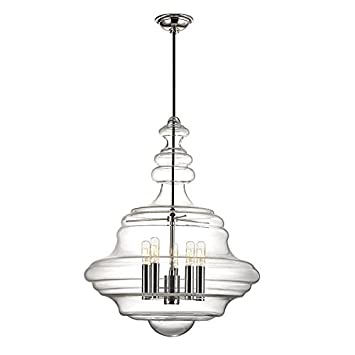 Hudson valley lighting washington 5 light large pendant polished nickel finish with clear glass