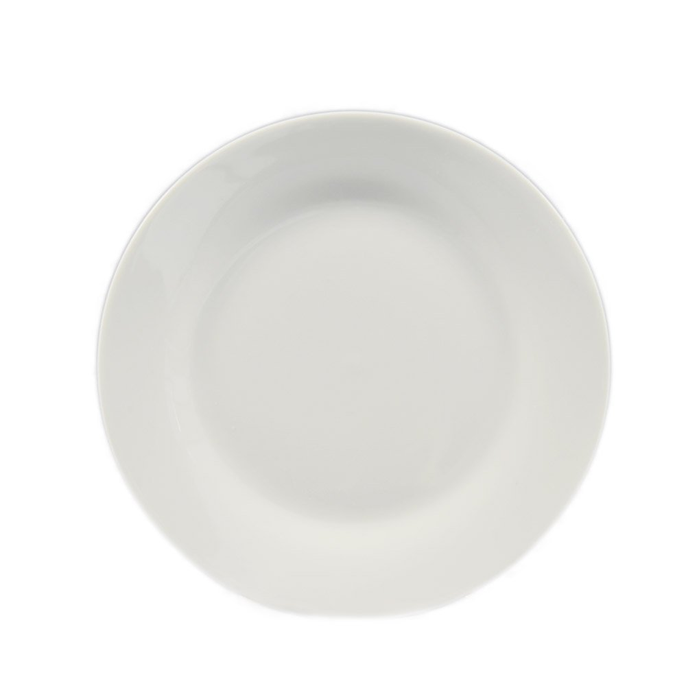 CAC China H-16 Porcelain Round Plate, 10-1/2-Inch, Super White, Box of 12
