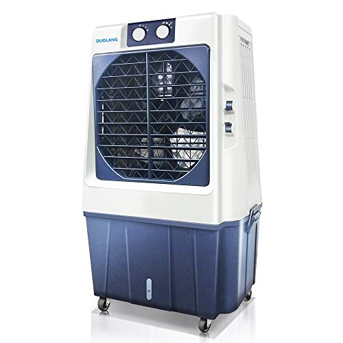 DUOLANG 1353 CFM Portable Evaporative Cooler Fan & Humidifier Rooms Up to 645.8Sq.Ft,Swamp Cooler with 3 Speeds DL-60T(White/Navy Blue)