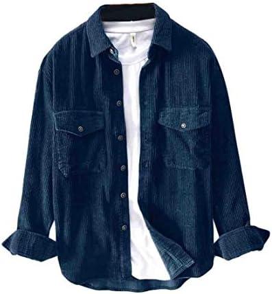 FRPE Mens Corduroy Shirt Button Down Long Sleeve Slim Fit Casual Shirts