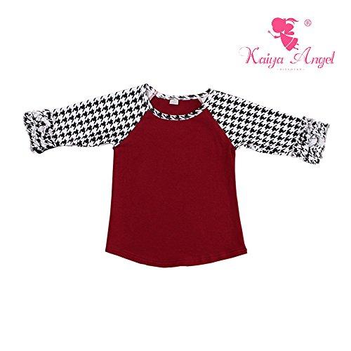 Kaiya Angel Little Girl's Kids Infant Poly-Cotton 3/4 Sleeve Raglan 2-9 Years (100(2-3Year), burgundy black white swallow gird)