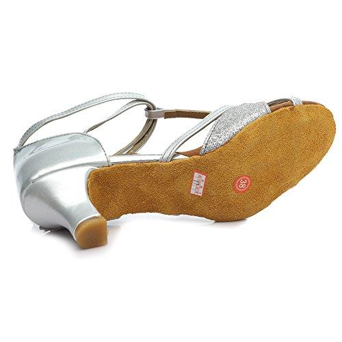 Absatz Ballsaal Latin SWDZM Satin Damen 5cm Silber Standard Tanzschuhe D255 Schuhe Dance Ausgestelltes Modell wUC7qR