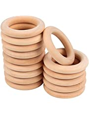 Wooden Rings, Macrame Wooden Rings, Natural Unfinished Solid Wood Rings for DIY Craft Pendant Connectors Jewelry Making (55 mm)