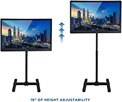Portable TV Stand Floor Standing VESA 100 and 200 44 Lbs Fits 27 30 32 35 37 40 and 42 Televisions Height Adjustable Telescoping Pole For Indoor and Outdoor Use
