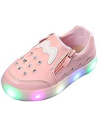 Baby LED Shoes,Kehen Boys Girls Kids Toddler Zip Crystal Light Up Luminous Sneakers Casual Walking Shoes