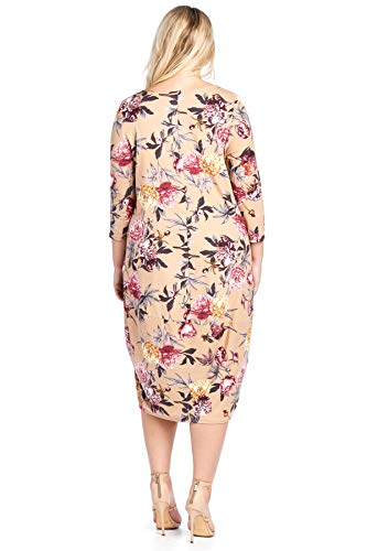 Plus in USA Solid Midi Ami Mocha Pocket Sleeve Bubble 4 12 3 Dress Floral Size Made Hem 56Owtpq