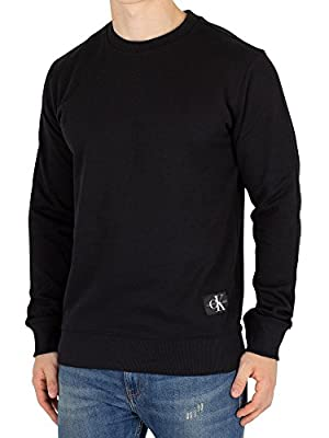 Calvin Klein Jeans Men's Monogram Hem Sweatshirt, Black