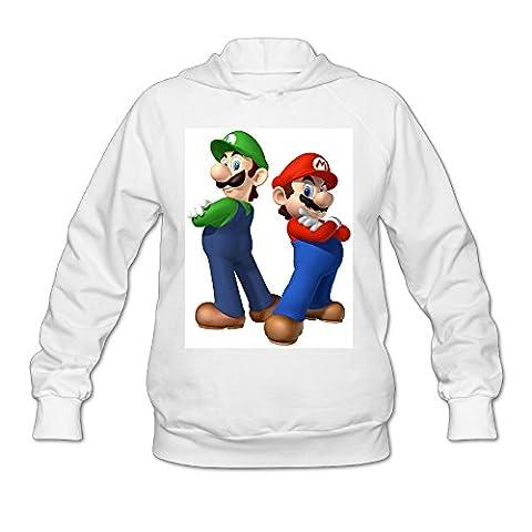 Harriy Women's Best Super Mario Brother Hoodies Size XL White (Samsung Tab 4 Case Mario)