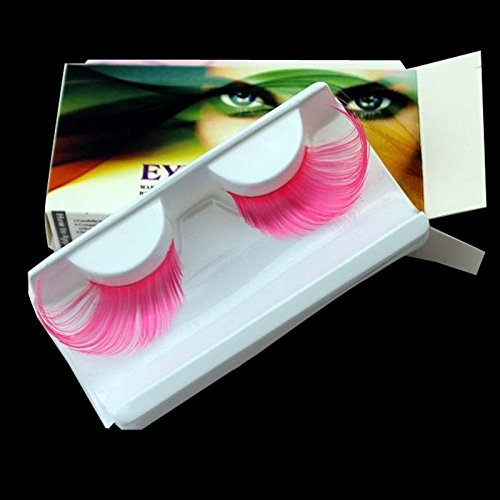 AnHua® New Sexy Fun Ladies Styles Handmade Reusable Long Thick Fancy Party Feather False Eyelashes Makeup Eye Lashes (Pink)]()