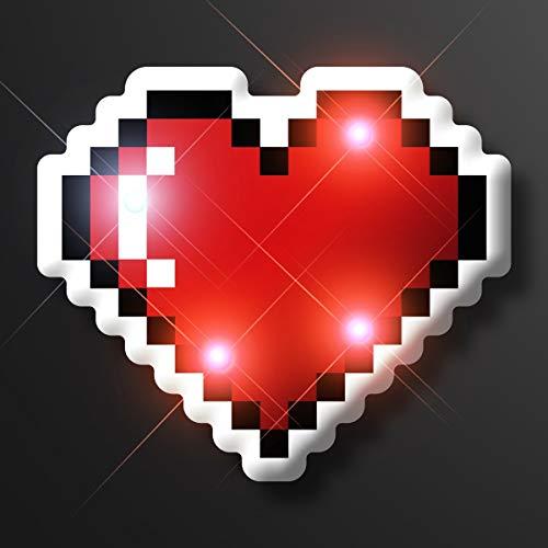 Blinking LED 8-Bit Pixel Heart Pins by FlashingBlinkyLights