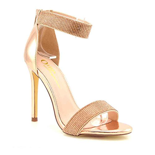 Olivia and Jaymes Luxury Sparkly Open Toe High Heel Ankle Strap Rhinestone Sandals for Women (9, Rose)