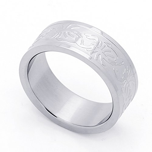 (Double Accent 8MM Stainless Steel Scorpion Patterned Flat Mens Wedding Band Ring (Size 8 to 14) Size 10)