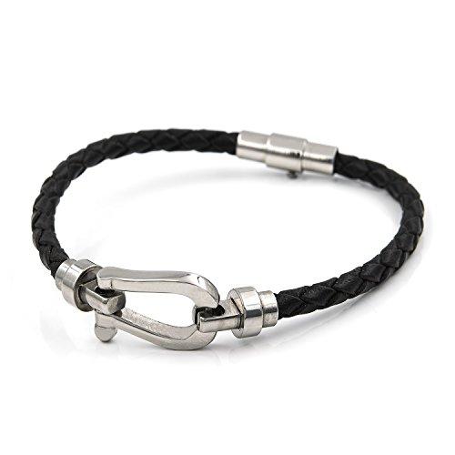 13867d079ba4 Silver   Steel Pulsera de acero y cuero trenzado negro - 18 Caliente de la  venta