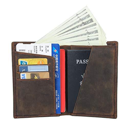Men's Functional RFID Blocking Leather Passport Holder Travel Bifold Wallet (Dark Brown)