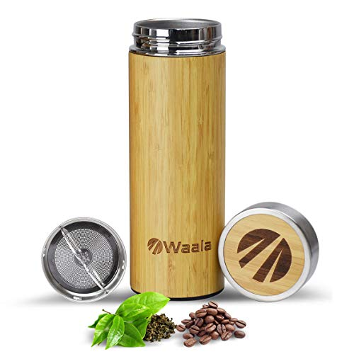 (Waala Bamboo Tumbler Cup with Stainless Steel Tea Infuser - 100% Natural & Eco-Friendly Double Walled Coffee Travel Mug with Splash Proof Lid - Premium BPA Free Fruit Infused Water Bottle - 14oz )