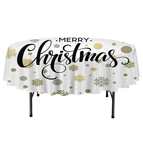 Douglas Hill Christmas Easy to Care for Leakproof and Durable Round tablecloths Merry Christmas Stylized Lettering on Abstract Modern Snowflake Dot Pattern Outdoor Picnic D40 Inch Gold Taupe -
