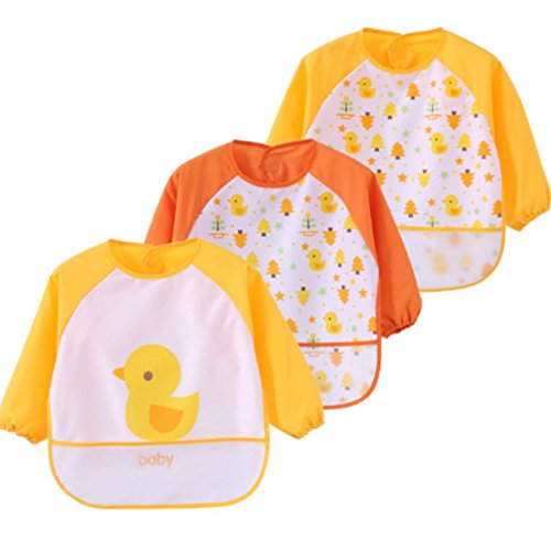 (DGAGA Toddler Baby 3 pack Waterproof Sleeved Bibs Burp Cloth Sets with Pocket Yellow Duck 6-24 Months)