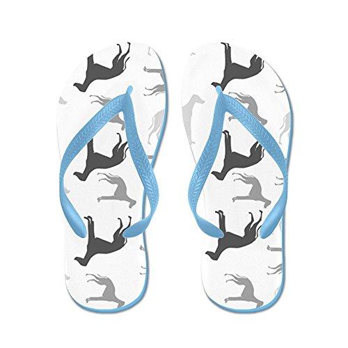 Modello Di Greyhound Cafepress - Infradito, Sandali Infradito Divertenti, Sandali Da Spiaggia Blu Caraibico