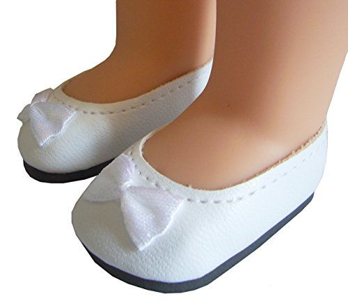 White Ballet Flats Shoes for American Girl Wellie Wishers by Doll Clothes Sew Beautiful by Doll Clothes Sew Beautiful