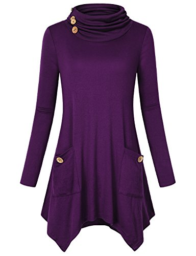 Hibelle Pullover Tunic for Women, Ladies Turtle Neck Top Purple Clothes Casual Long Sleeve Fashion Button Design Fitted Shirts Office Wear Knitting Aline Hem Sweatshirt with Pockets Small