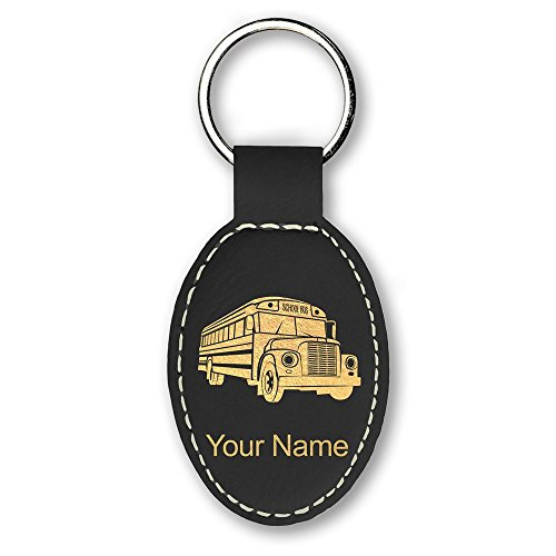(Oval Keychain, School Bus, Personalized Engraving Included (Black))