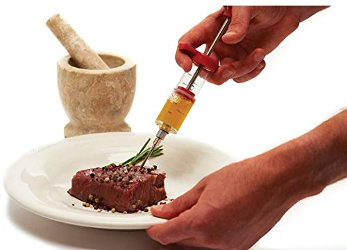 Plastic Marinade Injector, Turkey Syringe for Beef Chicken, Screw-on Meat Needl Seasoning Sauce Cooking Meat Poultry Turkey Chicken Flavor Syringe for BBQ Kitchen Cooking Tool