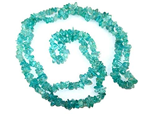 HiJet Apatite Chips Strands Mala Approx. 32-34 Inch Long for Making Jewelry Balancing Positive Energy Harmony Luck Yoga Meditation Reiki Unique Genuine Authentic Fashion Style Easter Sunday