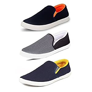 Chevit Men's Multi-Coloured Canvas Casual Shoes/Loafers/Moccasins – Pack of 3
