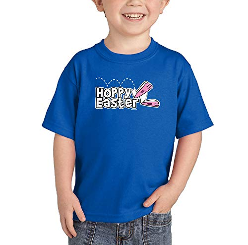 HAASE UNLIMITED Hoppy Easter - Happy Bunny Egg Infant/Toddler Cotton Jersey T-Shirt (Royal Blue, 2T)