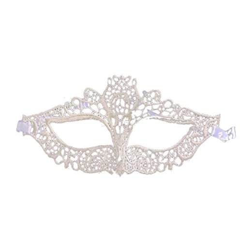 KEEPFUNNY Halloween Masquerade Sexy Lady Black White Lace Mask hollow Catwoman (one size, A)