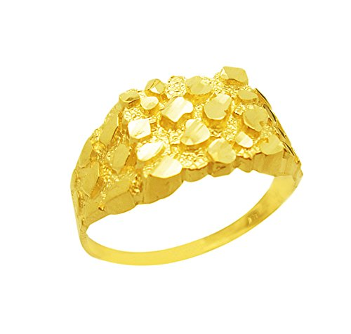 AMZ Jewelry 10K Gold Solid Nugget Ring Thin Gold Ring (Yellow Ring Nugget Gold)