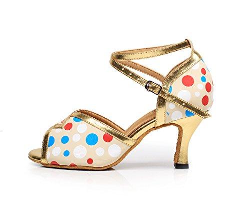 Lovely 7114 Tango Wedding Shoes Ankle Salsa Toe Ballroom Dance Dots Peep PU Strap Heel Cha Glod Sole Latin Womens Custom Cha Sudue Party CFP d8OtSwq8