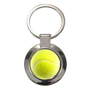 Tennis Ball Design geschoben Circular Schlüsselanhänger