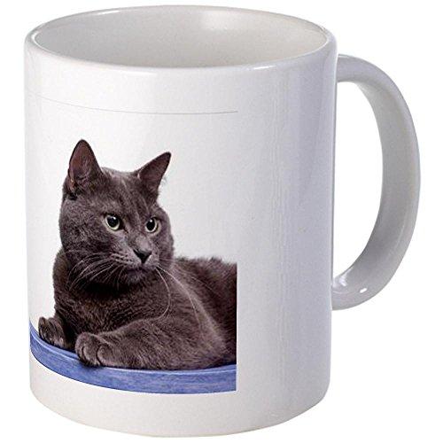 CafePress Portrait Of Russian Blue Cat On Blue Wo Mug - S White