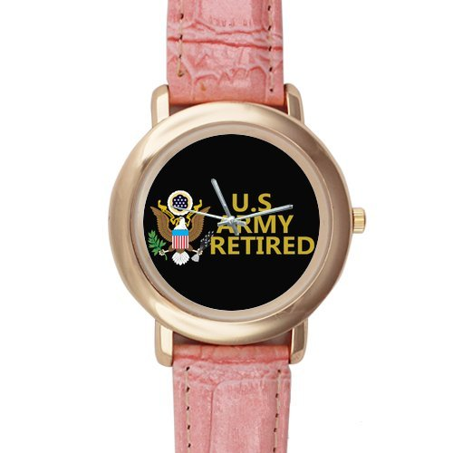 Gifts for girls or ladies US Army Retired Emblem Pink Leather Alloy High-grade Watch